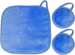 NUGILLA | 更新超细纤维卸妆布 | 可重复使用的洁面布 | 可水洗卸妆垫 适用于脸部/*/唇部 | 环保礼品,3件装(2个垫子,1布)