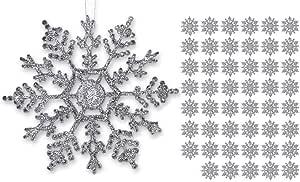 BANBERRY 设计银色雪花 - 防碎圣诞装饰银色绳 - 雪花装饰 银色 4 Inch 3541