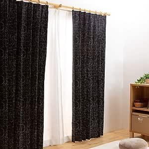 爱丽思广场 【从全部100种中选择的窗帘】 1级遮光 宽100cm プリモ ブラック 丈135cm