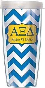 Greek Sorority On Chevron Traveler 玻璃杯带盖子 Alpha Xi Delta 22盎司