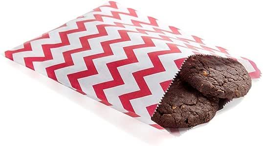 一次性纸袋、饼干袋、美食袋、烘焙袋 - 黑色带白色波尔卡圆点 - 17.78 cm x 12.7 cm - 100ct 盒 - 餐厅设备 红色 小号 RWA0013R