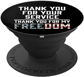 Thank You For Your Sacrifice God Bless 美国老兵礼物 PopSockets 手机和平板电脑握架260027  黑色
