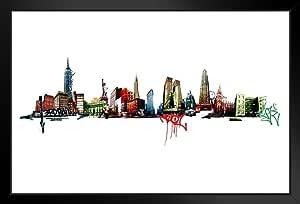 Poster Foundry 纽约涂鸦天际线纽约帝国建筑艺术印刷品艺术版画