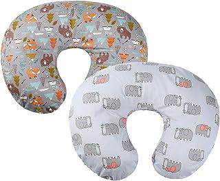 灰色哺乳枕套 2 件装 * 纯棉哺乳枕套,适合*喂养妈妈、女婴、男孩婴儿、婴儿、喂奶枕头、奶奶枕、大象和熊 Knlpruhk 出品