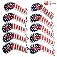 SUNBRO Golf 10 件套(4、5、6、7、8、9、A、P、S、X)厚合成皮革美国国旗高尔夫铁头套套装头套,适合所有品牌标题、Callaway、Ping、Taylormade、Cobra Etc 拉链闭合
