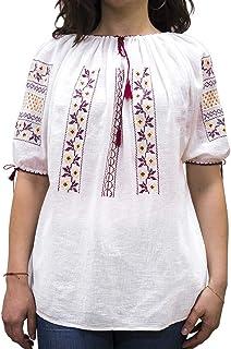 PNI 女式传统罗马尼亚衬衫薄棉手工裙子,多色,均码(尺码:通用)