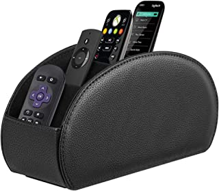 Fintie 遥控支架,Vegan Leather TV 遥控盒桌面收纳盒,5 个隔层,适合电视遥控器、媒体控制器、办公用品、化妆刷 *黑色