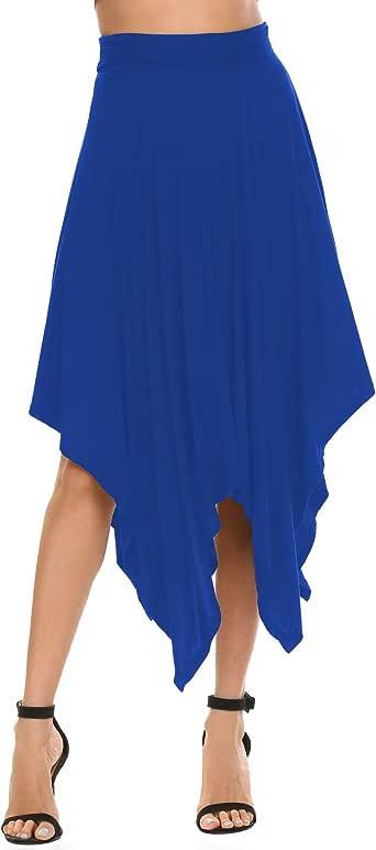 Chigant 女式莫代尔不规则下摆飘逸飘逸裙摆中长裙 皇家蓝 X-Large