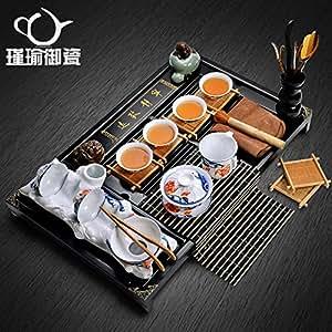 瑾瑜御瓷 景德镇青花陶瓷茶杯茶壶功夫茶具套装 实木抽屉式茶盘 款式3:杯碟桃花鸟茶具套装 10件