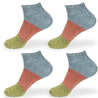 女式竹纤维人造丝 纤维条纹风格运动高级吸汗运动休闲及踝袜 Blue Red Green Women's XL (10-13)