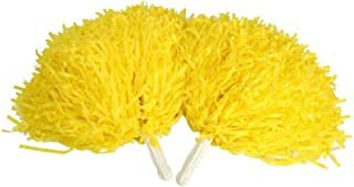Qii lu 啦啦队长绒球,多用途 2 件套派对舞球手柄花球套装适用于体育场啦队队队运动球球假日庆祝有用配件黄色
