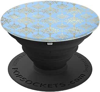 蓝色和金色海浪海浪海滩艺术爱好者趣味礼物 PopSockets 手机和平板电脑握架260027  黑色