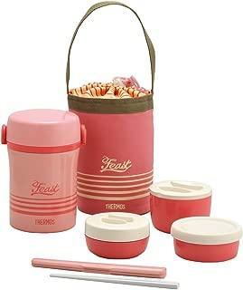 THERMOS 不銹鋼便當盒 午餐盒 約0.6合(約0.1L )珊瑚粉紅 JBC-801 CP