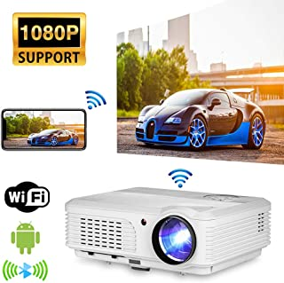 WIFI 电影投影仪,4400流明1080P全高清视频投影仪,无线蓝牙LED家庭影院投影仪带Airplay,兼容HDMI,USB,AV,智能手机,电视棒,PS4,电视盒