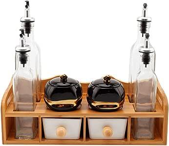(8 件套)组合调理架收纳架带油瓶架、香料罐、白色陶瓷餐勺套装厨房柜