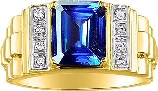 RYLOS 男式戒指翡翠切割形状宝石和真正闪亮钻石 14K 黄金镀银 .925-10X8MM 彩色宝石 - 设计师风格