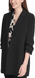 DKNY 女式娇小褶边袖开襟夹克
