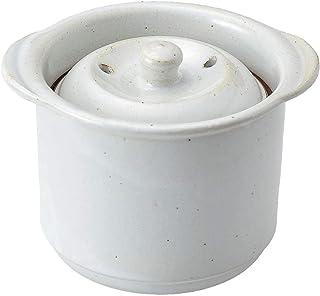 佐治陶器 饭锅 白色 13.5cm 万古烧 微波炉用 米饭锅 1合 白釉 5-4