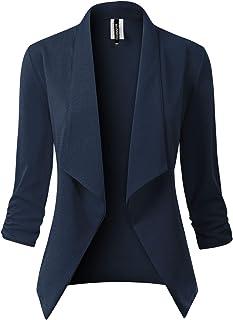 MixMatchy 女式经典 3/4 聚拢袖前开纯色西装夹克 [美国制造](S-3XL)