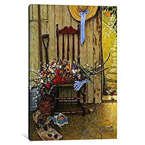 """iCanvasART Spring Flowers Canvas Print by Norman Rockwell, 26 by 18""""/1.5"""" Deep"""