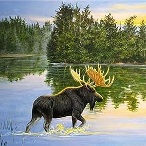 """WGI-GALLERY 湖驼鹿墙壁艺术 1"""" x 24"""" x 24"""" WA-LM-2424"""