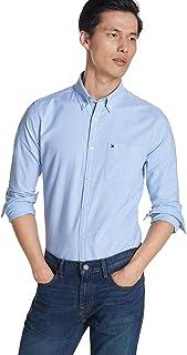 Tommy Hilfiger 男式長袖純色牛津紐扣襯衫,定制款 Basic Blue With Pocket Small