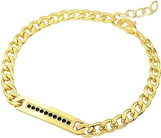 555Jewelry 女士不锈钢链条链条方晶锆石镶嵌手链