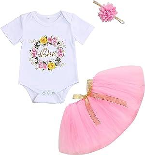 女婴 1 岁生日蛋糕粉碎幼儿女孩 Onederful 连身衣短裙带发带服装套装