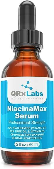 NiacinaMax 精华含10% *酰胺(维生素 B3)、茶树油、金盏花提取物、尿囊素和维生素。 B5 & E - 增强皮肤渗透 - 收缩毛孔,减少皮肤上的瑕疵 - 2 盎司/60 ml