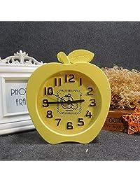 创意可爱卡通闹钟儿童学生起床钟台钟KT桌面摆钟简约小闹钟抖音1610苹果闹钟黄色