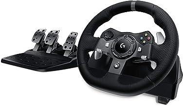 Logitech 羅技 G920驅動力賽車車輪和油門,實力反饋,不銹鋼換擋撥片,皮革方向盤套,可調式油門,英國插頭,Xbox One / PC / Mac-黑色