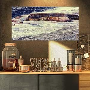 """热泉 - 黄石海景帆布艺术印刷品 32x16"""" PT12220-32-16"""