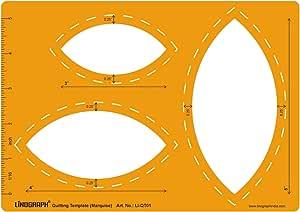 绗缝形状贴片切割和绘图模板模板 - 可选形状 Marquise Shape Lino-QT01