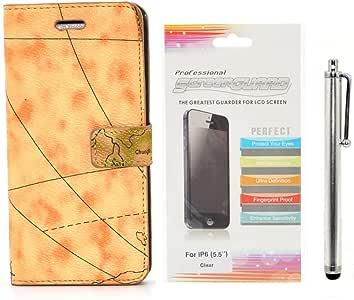 Apexel 世界地图图案皮革钱包手机壳带卡夹,触控笔和高清屏幕保护膜,5.5 英寸 iPhone 6 Plus - 棕色IP6-5509-YEL iPhone 6 5.5 16.2 * 8.2 * 1.7 黄色