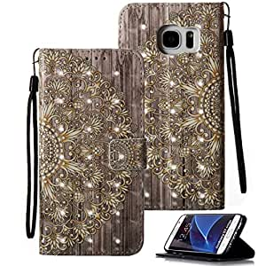 Galaxy S7 Edge Case, S7 Edge Case, Galaxy S7 Edge Wallet Case, Etubby [Wallet Stand] PU Leather Wallet Flip Protective Skin Case with Card Slots and Wrist Strap for Samsung Galaxy S7 Edge (2016) || Flower-W