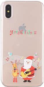 EVERMARKET 美丽可爱图案橡胶柔软弹性 TPU 手机壳适用于苹果 iPhone X Merry Christmas Pattern