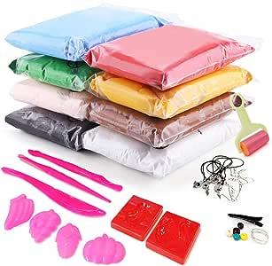 Air Dry 软粘土,超轻建模粘土套装,彩色 DIY 创意工艺粘土套件 8 种颜色 SC100-8