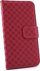 ホワイトナッツ 市松柄 ケース 手帳型 品红色 2_ Xperia ray SO-03C