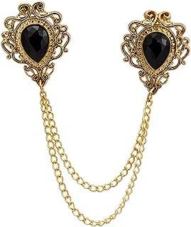 AN KINGPiiN 黑色石头和金色雕刻链子翻领别针,胸针西装铆钉,衬衫铆钉男士配饰