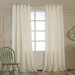 """MICHELE 家庭时尚(2 片装,多定制纯色双褶节能窗帘,窗帘和窗帘面板透明窗帘¡¡ Double Pleated (100""""W x 102""""L) Chuang-BQ550-2-20"""