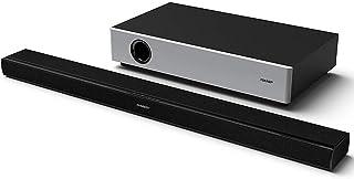 夏普 HT-SBW160 360W 2.1 超薄条形音箱 带紧凑型无线低音炮 蓝牙 HDMI ARC/CEC&遥控器 - 黑色/银色