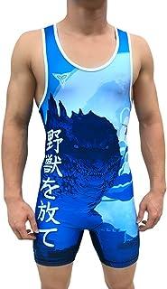 TRI-TITANS 哥斯拉蓝色Funk Fighter 摔跤汗衫青年和成人男士尺码