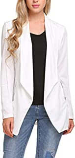 ELESOL 女式前开襟垂褶长款休闲西装外套,带侧拉链口袋象牙白 L 码