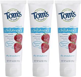 Tom's of Maine 无氟儿童牙膏,儿童牙膏,天然牙膏,Silly草莓,3件,4.2盎司/119克