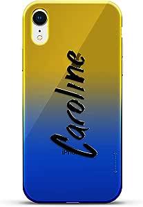 奢华设计师,3D 印花,时尚,高端,高端,Chameleon 变色效果手机壳 iPhone XrLUX-IRCRM2B-NMCAROLINE1 NAME: CAROLINE, HAND-WRITTEN STYLE 蓝色(Dusk)