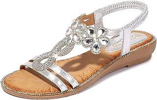 Meeshine 女式夏季花卉水钻平底凉鞋,舒适 T 型系带休闲波西米亚沙滩鞋