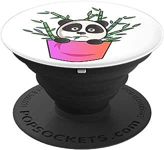 可爱的川崎熊猫卡通艺术手绘熊猫图案可爱波特袜子手柄和支架,适用于手机和平板电脑260027  黑色