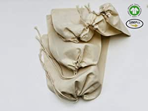 棉质平纹细布袋,* *棉单抽绳优质环保天然可重复使用袋。 100 支装。 天然 5x7 英寸