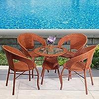 【京好】藤椅子茶几三件套装桌子简约 高档阳台休闲办公户外家具B79 (黄色款式, 一桌三椅送坐垫 )