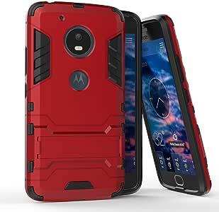 摩托罗拉 Moto X4 保护套(5.2 英寸)2 合 1 防震带支架功能混合双层装甲防摔保护套 Moto G5 红色
